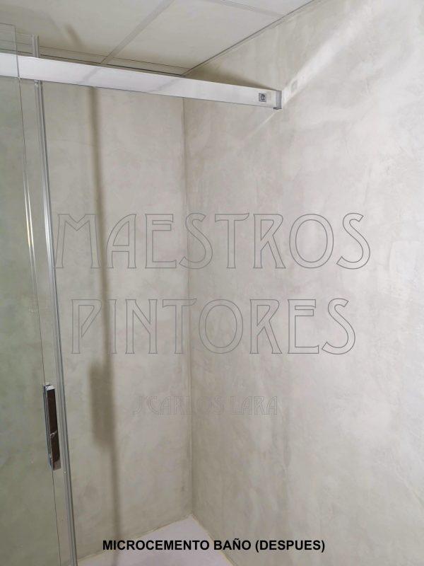 Cuarto de baño después de aplicar Microcemento sobre los mismos.